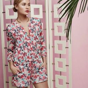 Joie 100% Silk Floral Pleated Romper Size XS